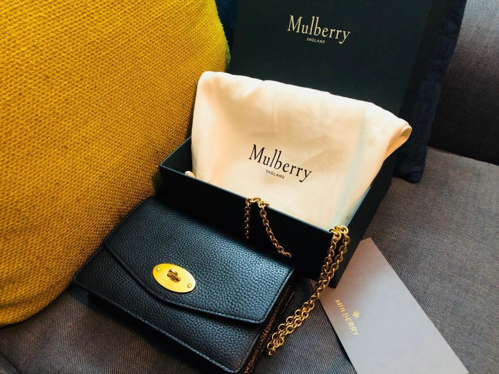 Genuine MULBERRY Small Darley Clutch Bag in Black Small Classic Grain ecd4cca81c62e