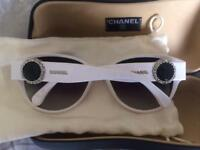 Genuine CHANEL Sunglasses White Bouton Collection