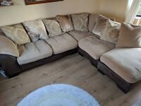 DFS Fabric Chaise lounge with foot stool. Comes complete with 9 large feather/down cushions.