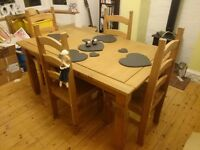 Large 5ft Dining Table & 4 Chairs Solid Wood