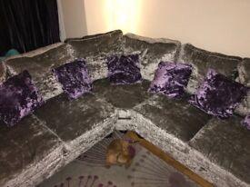 Stunning Silver Corner Sofa