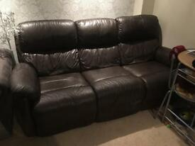3 Seater Brown Leather Recliner