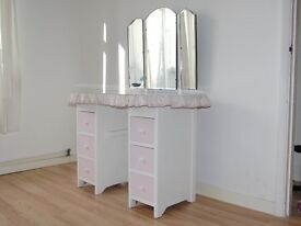 Small Vintage Kidney Shape Skirted Dressing Table, Painted, Shabby Chic, Granny Chic