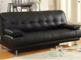 Black leather sofabed like new could deliver