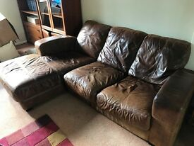 Brown leather distressed-look 3 seater sofa