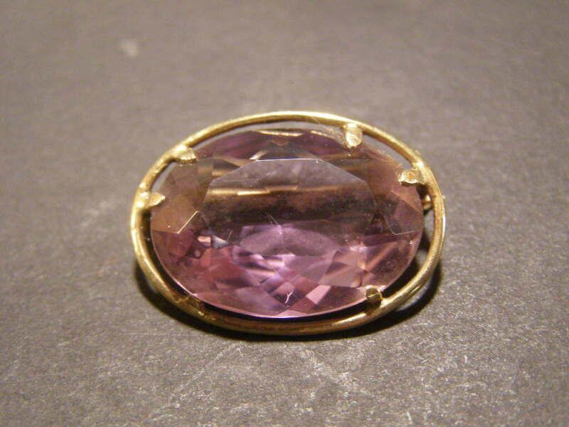 ~19 c Victorian 10K Gold Cut Faceted Purple Gem Stone Pin Brooch Jewel Gemstone~