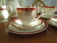 Bone china tea and coffee service Royal Grafton Majestic red/white & gold 52 pieces