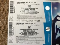 2X LIONEL RICHIE TICKETS - FRONT BLOCK AA6 - 23 JUNE HOVE