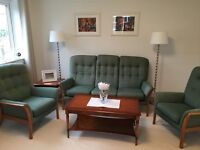 Parker Knoll Sofa, Armchair, Coffee Table, Side Table and Bookcase