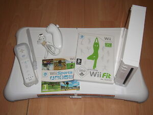 White Nintendo Wii Console Bundle, Wii Fit Board & Wii Sports - Over 50 Games