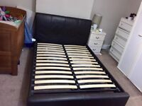 Double bed frame, brown leather
