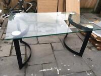 6-8 person 15mm Tempered Glass top Dining table with Heavy Black metal legs