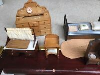Assorted doll's furniture for sale.