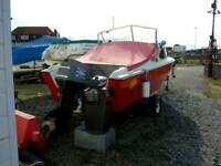 18ft Fishing boat. With trailer and outboard