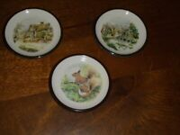Purbeck Pottery set of 3 wall plates.