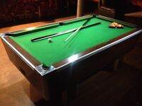 Pool table with cues, balls etc. Coin operated, full size. Ideal for nightclub/ bar /home leisure