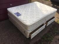 Myer's double divan bed with 4 drawers and mattress in excellent condition