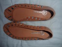 River Island Brown leather and silver shoes BNWT