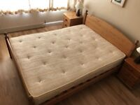 solid pine king size bed with mattress & storage can deliver
