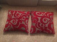 DFS Large red and grey cushions