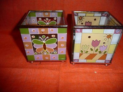 Lot of 2 Square stained glass Footed candle holder (1) Tulips (1) Butterfly New
