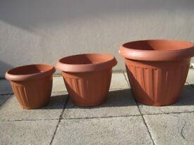 3 Terracotta Planter Pots (Large, Medium and Small)