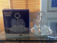 Brandy Glasses x 4 on silver plated tray; new condition. Queen Anne range of silver plated tableware