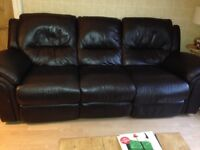 Reids brown leather 3 & 2 seater recliner sofas