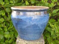 Large Dapple Blue Ceramic Garden Planter Garden Pot with Brown Band 30cm Tall