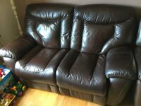 3 Seater and 2 Seater Manually Reclining Leather Sofas - Good Condition