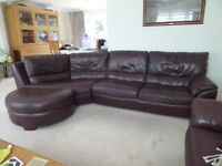 NATUZZI CHOCOLATE BROWN CORNER SOFA+FOOTSTOOL - MUST GO ASAP - CHEAP DELIVERY - £350