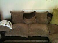 Mocha corner sofa cord