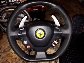 Thrustmaster Ferrari 458 Italia racing wheel & pedals for PC & Xbox360 - like new £60