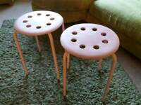 2x Ikea pink stools/seats/side tables