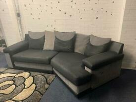 Grey & Black curved corner sofa scs delivery 🚚 sofa suite couch furniture