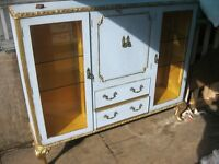 VINTAGE ORNATE SIDEBOARD / DISPLAY CABINET. DUCK EGG BLUE & GILT. RUSTIC. VIEWING/DELIVERY AVAILABLE