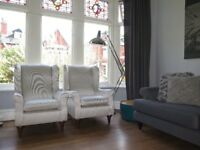 2 x Silver/Pearl MARKS & SPENCER M&S Wingback Armchairs