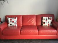 Red leather 3 seater sofa and two chairs