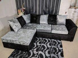 🌷💚🌷CLASSIC SALE 🌷💚🌷DYLAN CORNER SOFA GREY / BLACK CRUSHED VELVET FABRIC - - FOAM SEATS - SALE