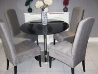 next dining table & chairs cost over £900 4 silver grey sienna velvet chairs / black chrome table