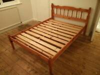 Solid wood double bed with good quality mattress