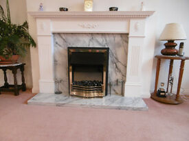 Georgian Style Marble and Coal Fire Effect Fireplace - Top Condition
