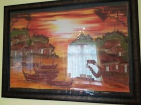 Large Malaysian hand-painting on silk from Langkawi framed