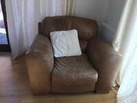 Leather armchair, a bit worn but very comfortable and solid