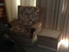 Reclining chair with footstool - no fire safety labels - collection only