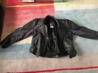 "Superb Motorbike Leathers (44"" jacket and 34"" Trousers), Black with purple trim"