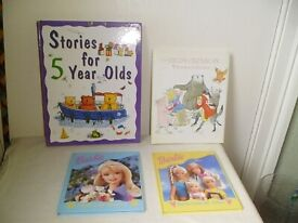 4 CHILDRENS BOOKS,'BARBIE','STORIES FOR 5 YEAR OLDS' & 'NURSERY COLLECTION'.