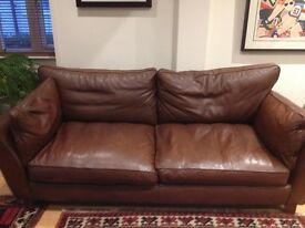 Leather sofa 3 seater brown
