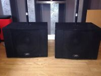 Peavey pro sub speakers with data lite poles ideal for mobile Dj or club instalatiom