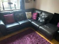 ***REDUCED PRICE*** Black corner sofa with storage ottoman